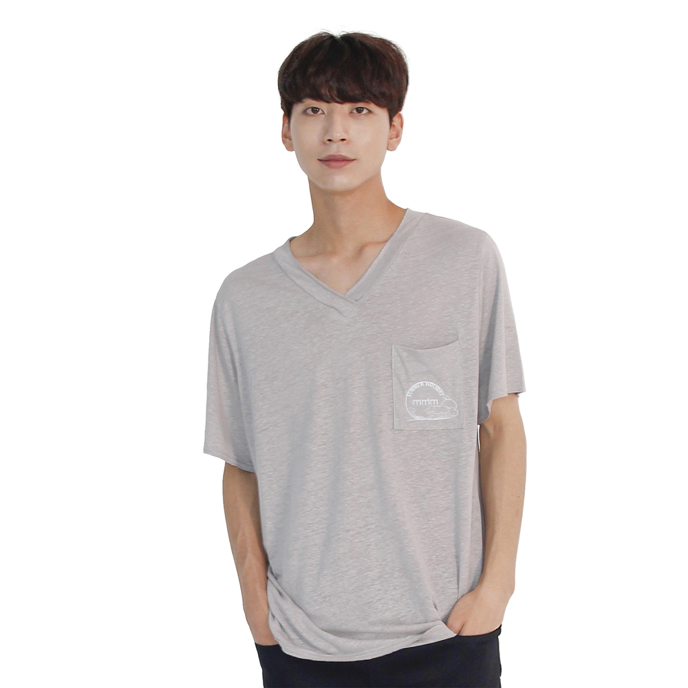 (UNISEX) Linen Wave V-neck Short Sleeve T-Shirt (GREY)
