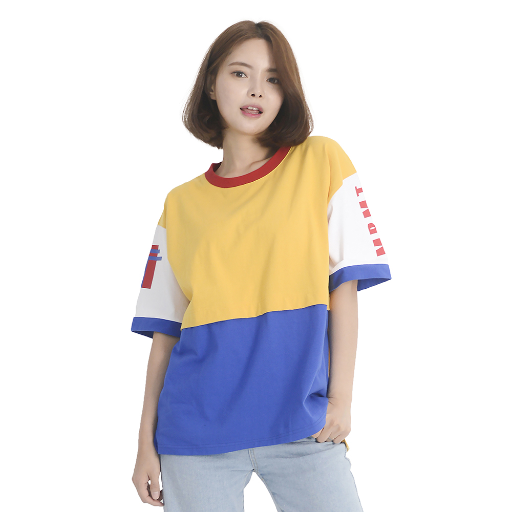 (UNISEX) Color Block Short Sleeve T-Shirt (YELLOW)