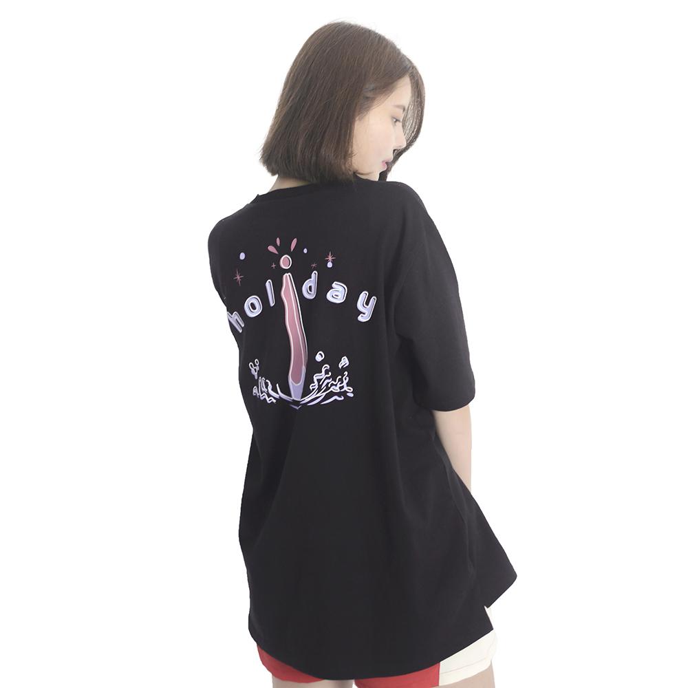 (UNISEX) Holiday Swim Short Sleeve T-Shirt (BLACK)