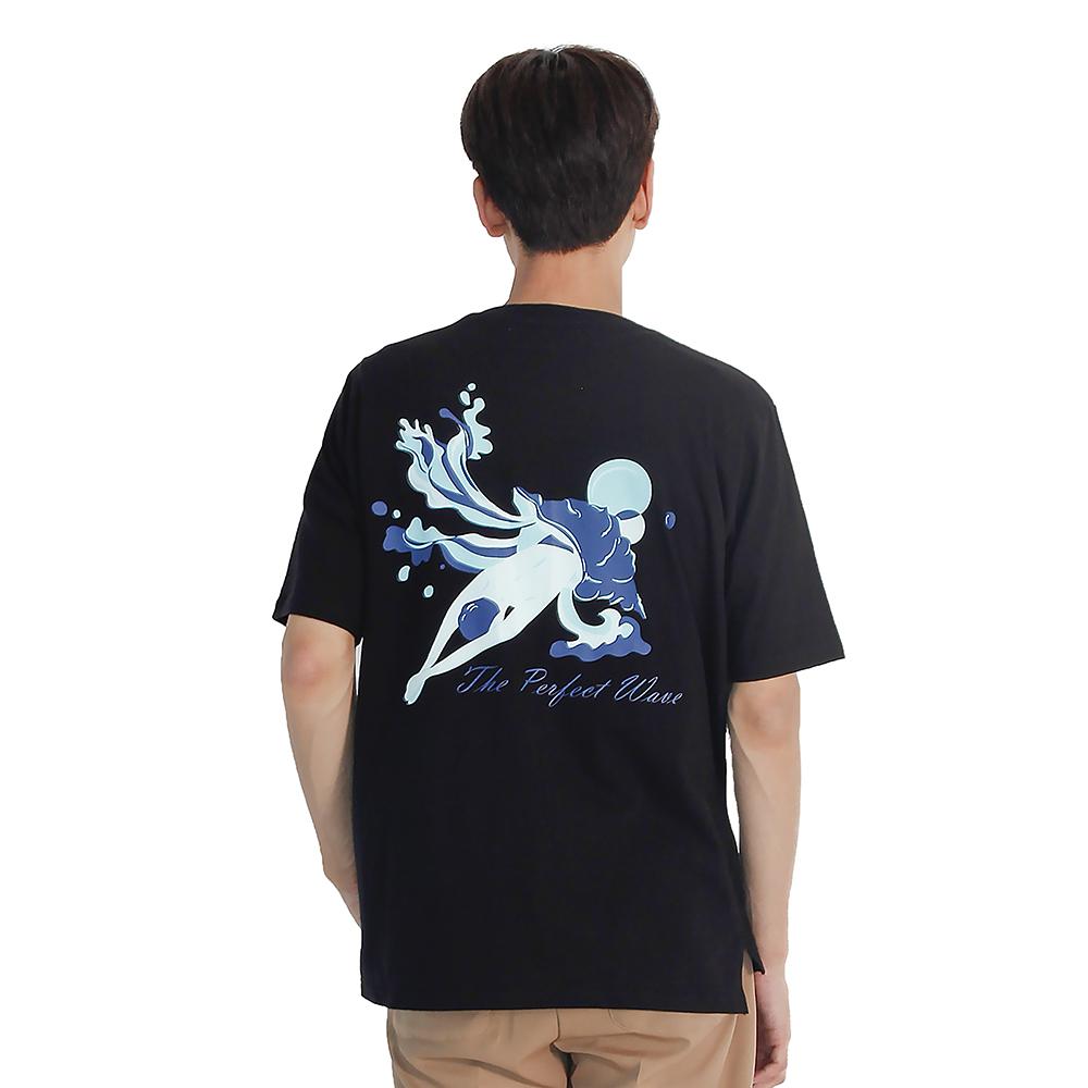 (UNISEX) Perfect wave Short sleeve T-Shirt (BLACK)