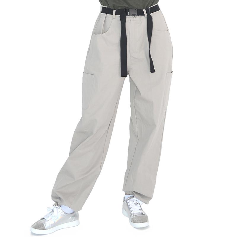 (UNISEX) Buckle Belt Cargo-Pants (LIGHT GREY)