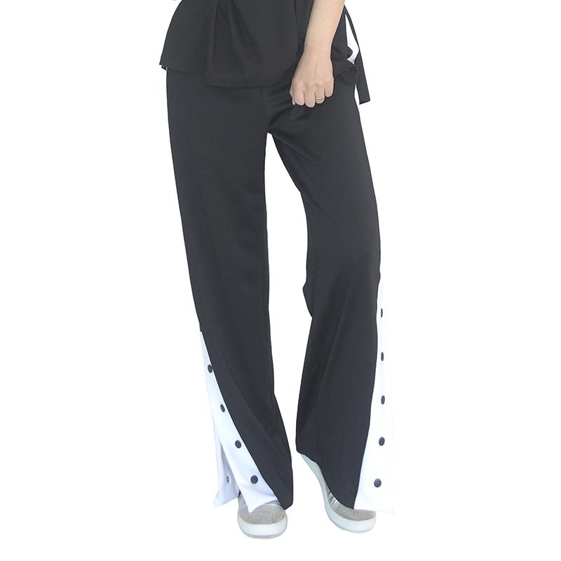 (UNISEX) Slit Track Pants (BLACK)
