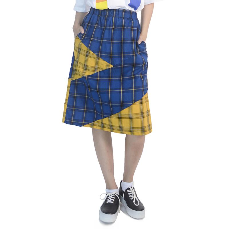 Check Midi Skirt (BLUE)