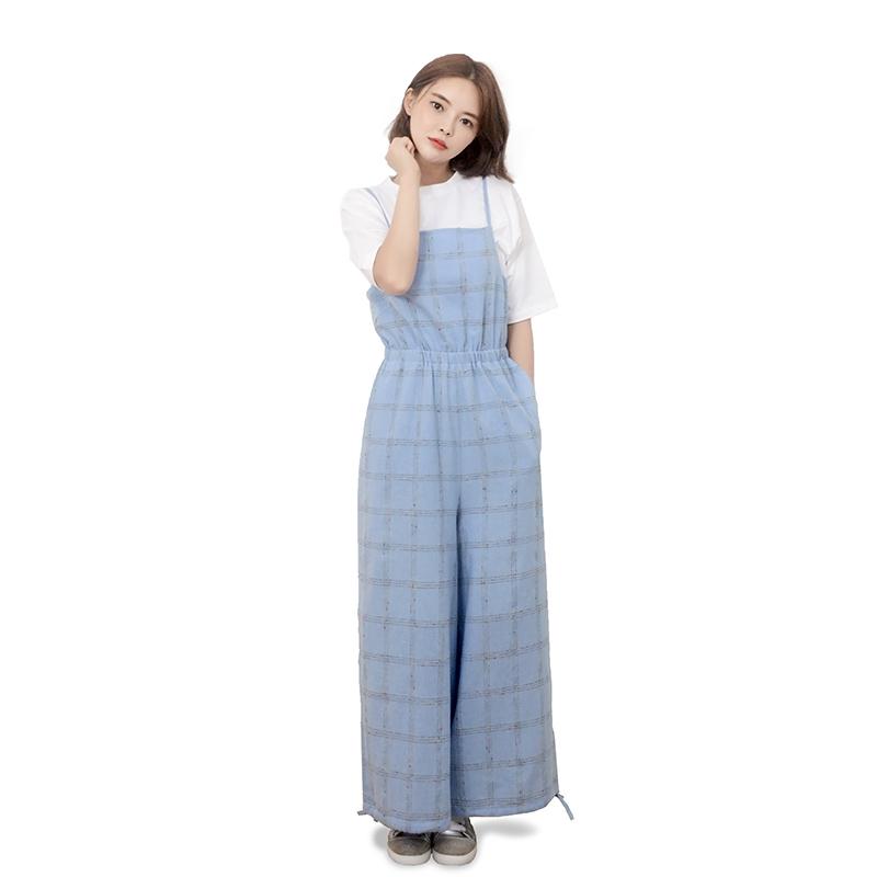 Cotton Check Long-wide Jumpsuit (BLUE)