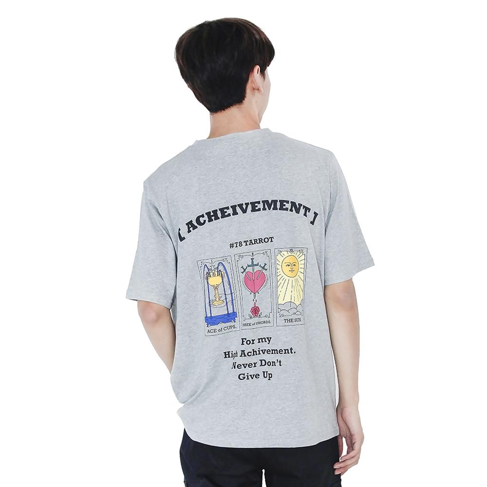 (UNISEX) 3-Tarot cards Short Sleeve T-shirt (GREY)