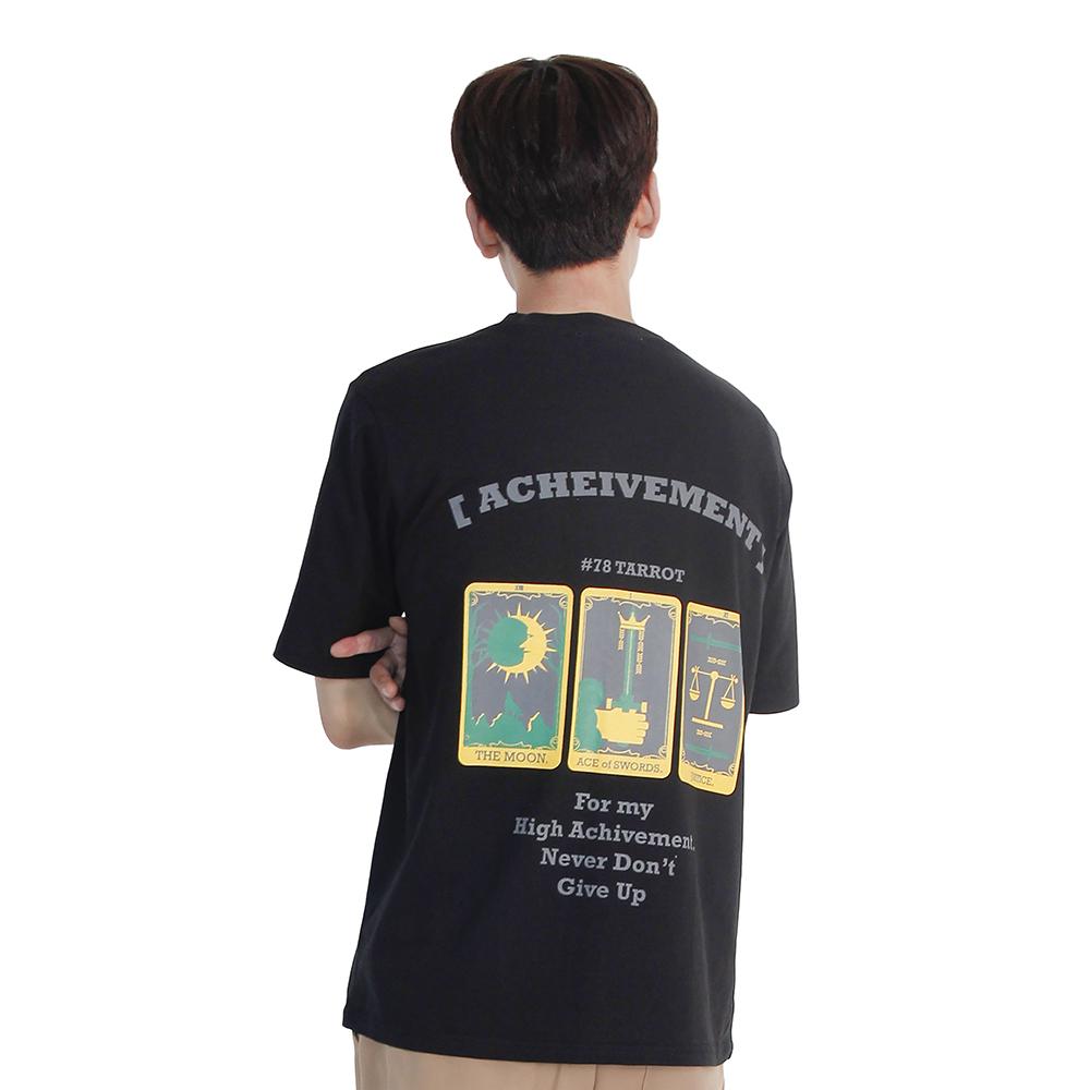 (UNISEX) 3-Tarot Gold cards Short Sleeve T (BLACK)