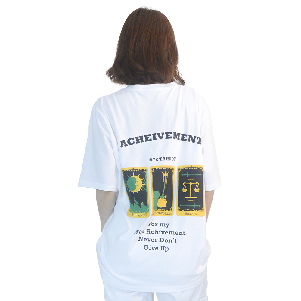 (UNISEX) 3-Tarot Gold cards Short Sleeve T (WHITE)