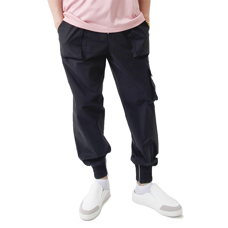 (UNISEX) Easy Zip-up Cargo-Jogger Pants (BLACK)