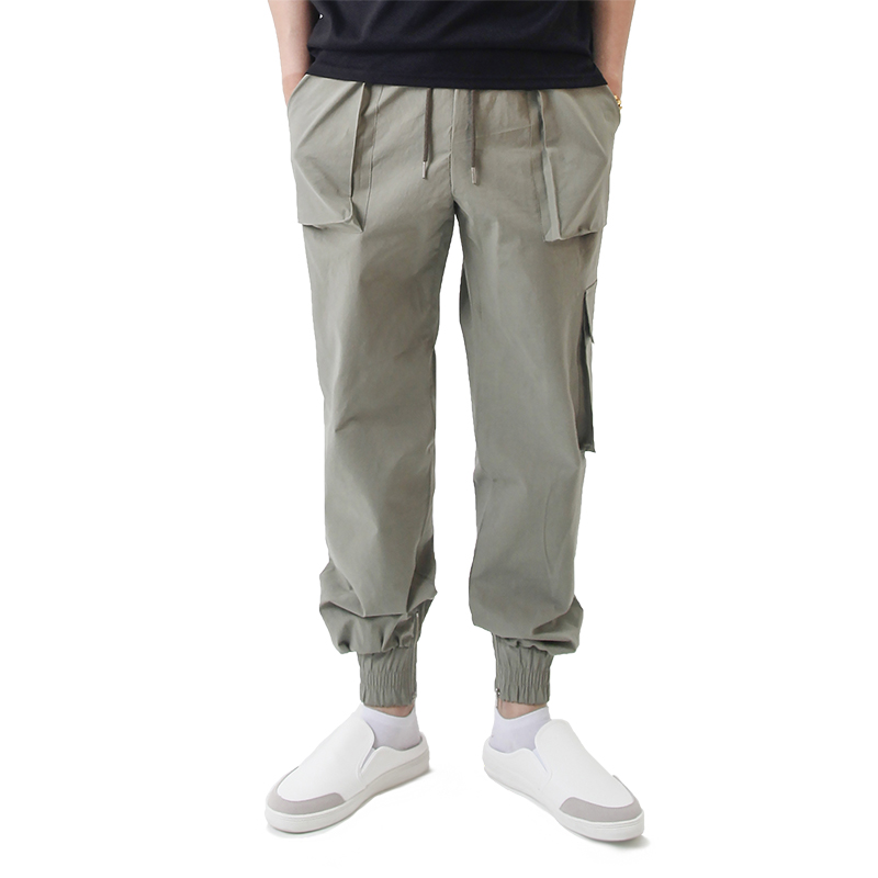 (UNISEX) Easy Zip-up Cargo-Jogger Pants (KHAKI)