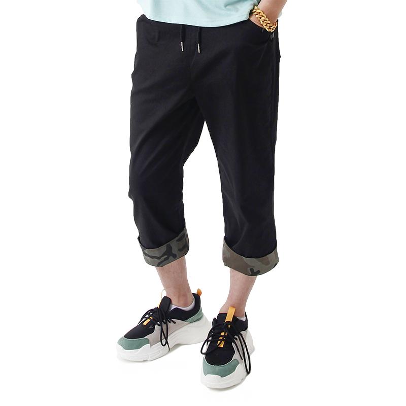 (UNISEX) CAMO Roll-up Capri Pants (BLACK)