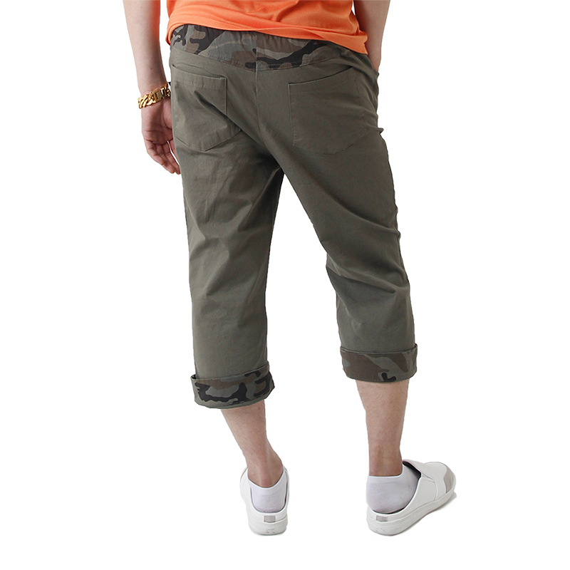 (UNISEX) CAMO Roll-up Capri Pants (KHAKI)