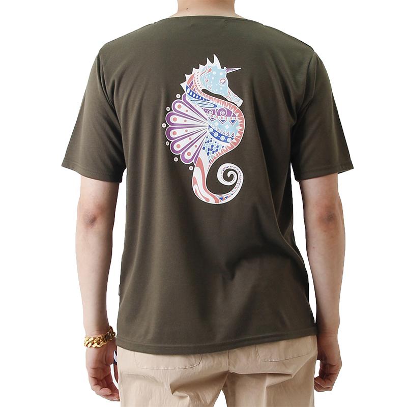 (UNISEX) Seahorse Graphic Short Sleeve T (KHAKI)