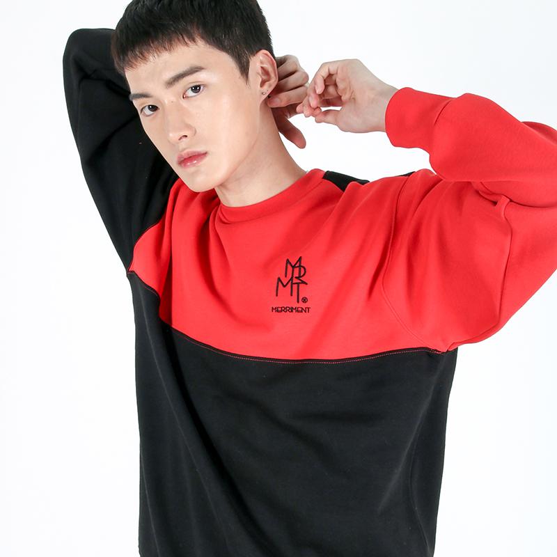 (UNISEX)Color fleece-lined Sweatshirt (BLACK&RED)