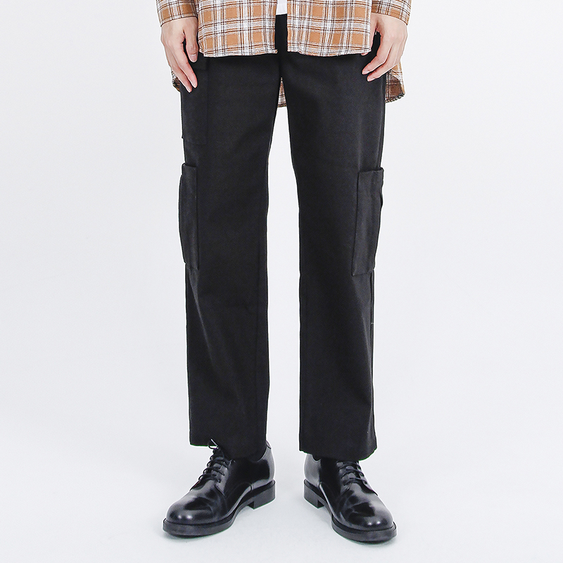 (UNISEX)Gargoyle Cargo Straight Span Pants(BLACK)