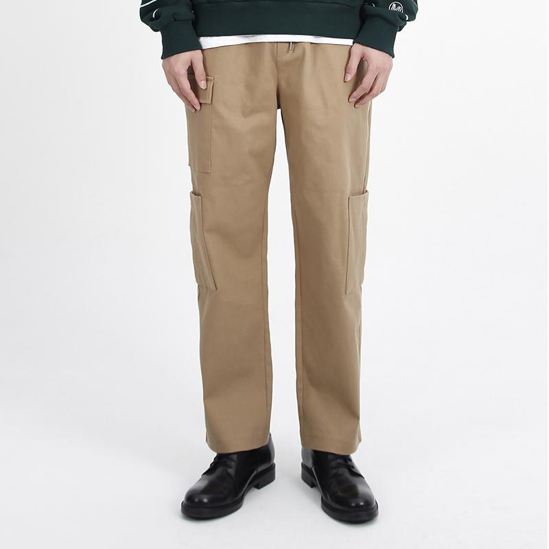 (UNISEX)Gargoyle Cargo Straight Span Pants(BEIGE)