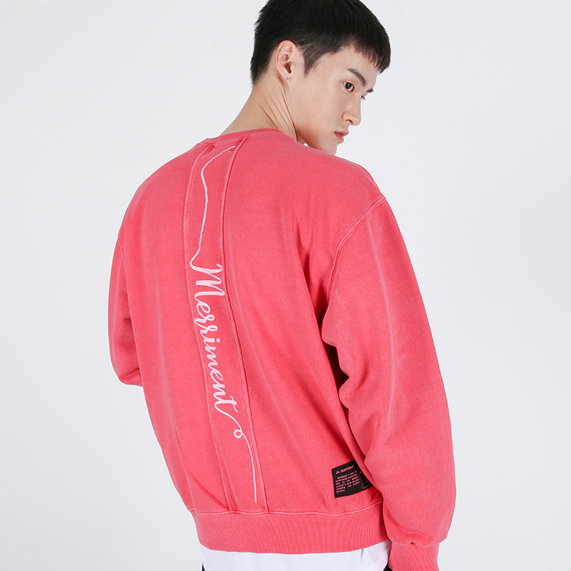 Lettering Section Pigment Sweatshirt(PINK)