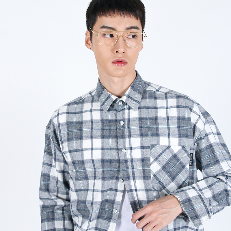 (UNISEX)Over-fit Grey Tartan Check-Shirt
