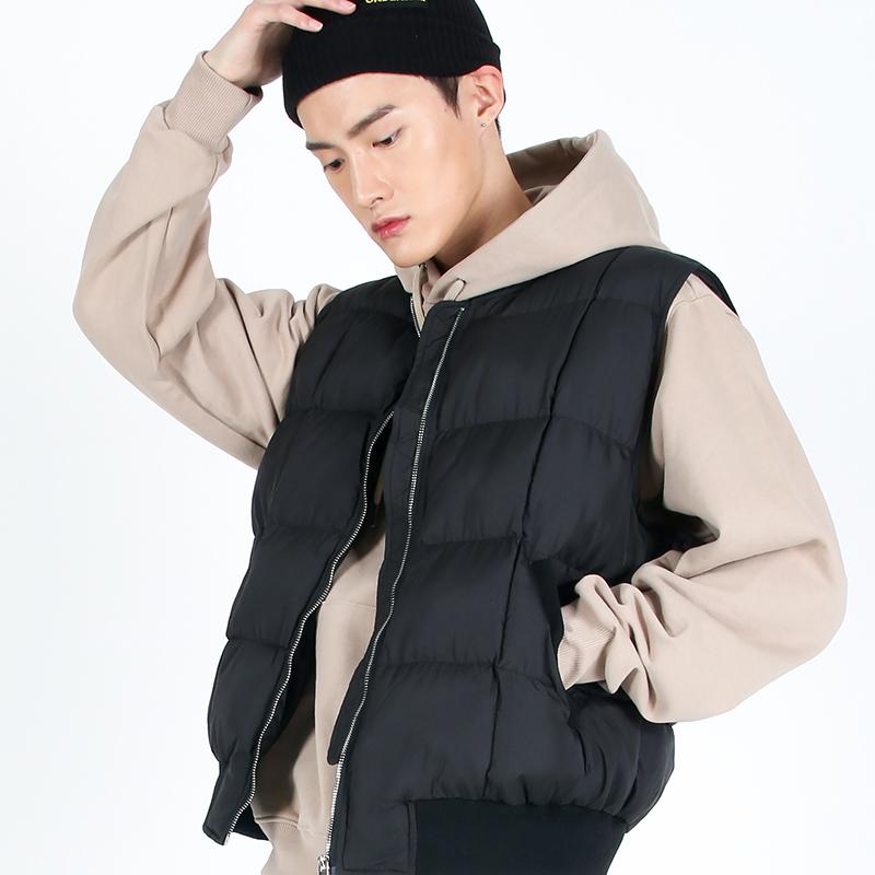 (UNISEX)Round Quilting Padded Vest(BLACK)