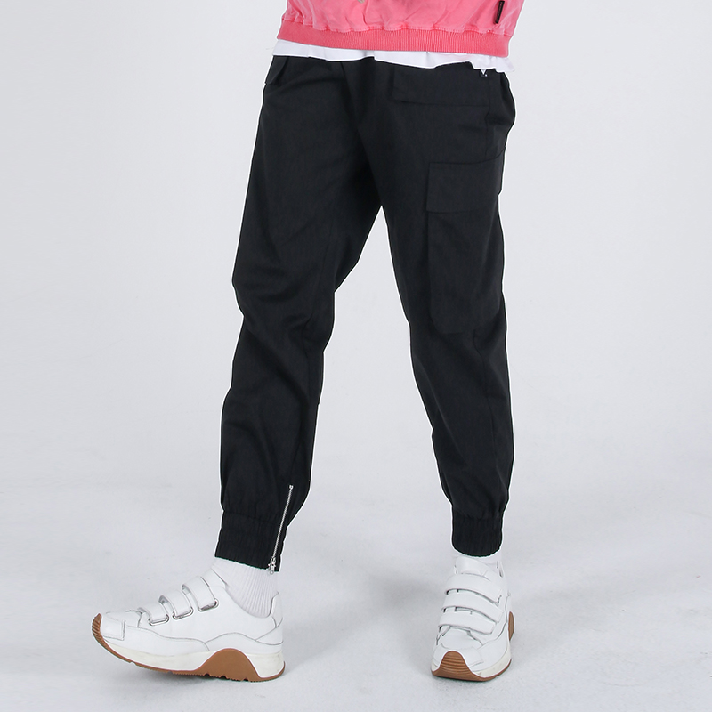 (UNISEX)Mild Eazy Zip-up Cargo-Jogger Pants(BLACK)