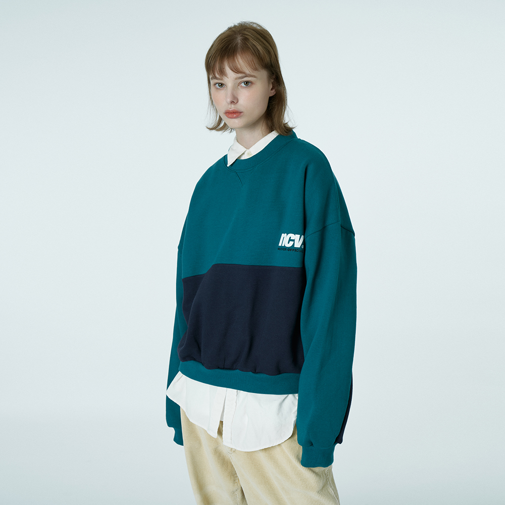 Two tone point sweatshirt-emerald