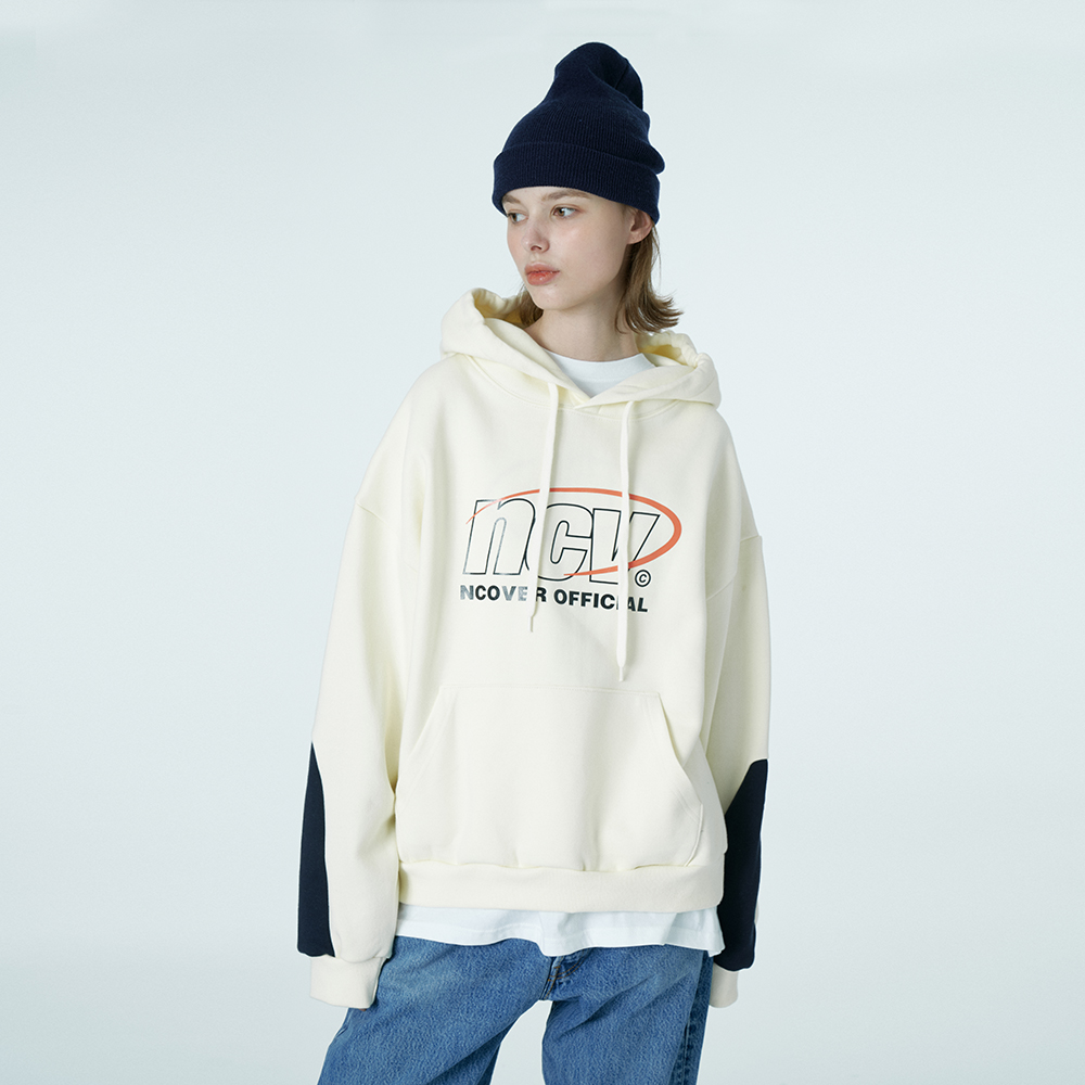 Color sleeve point hoodie-ivory