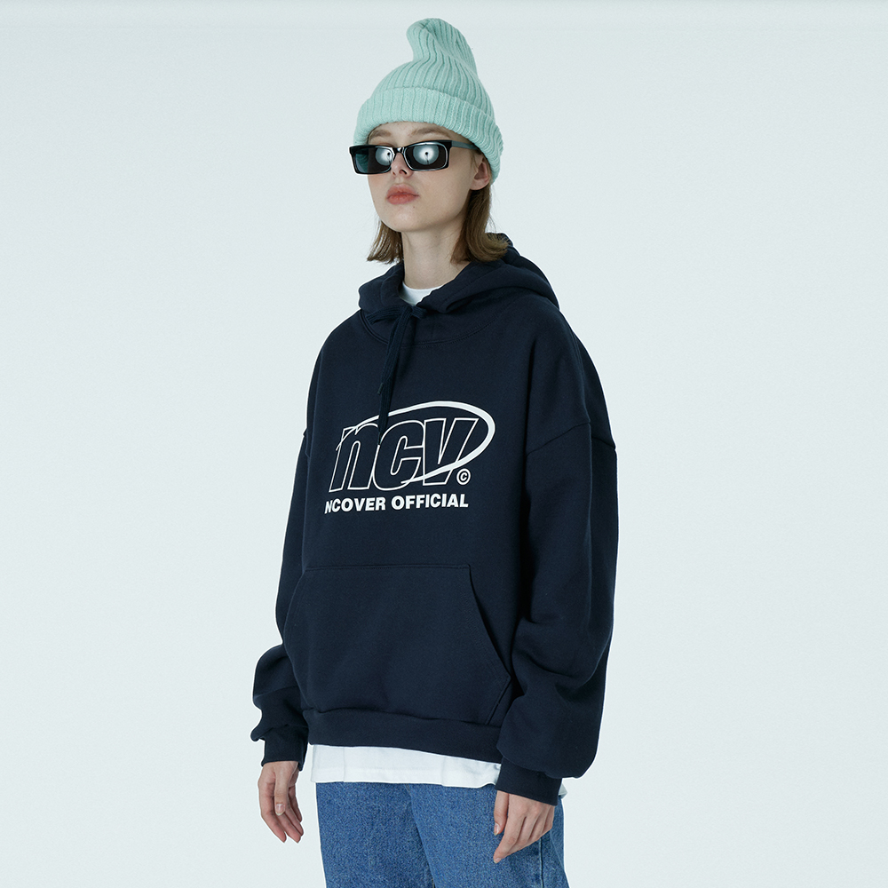 Back logo point hoodie-navy