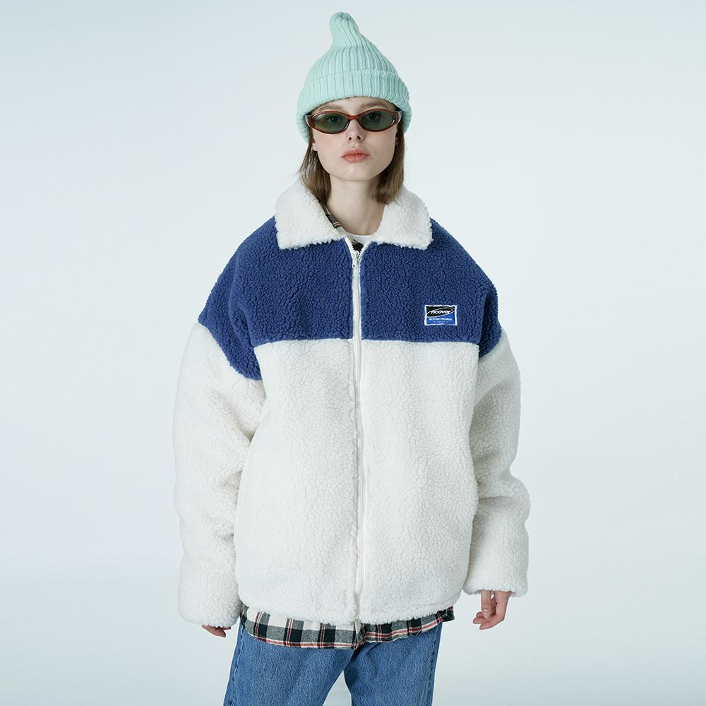 Square patch fleece jacket-ivory