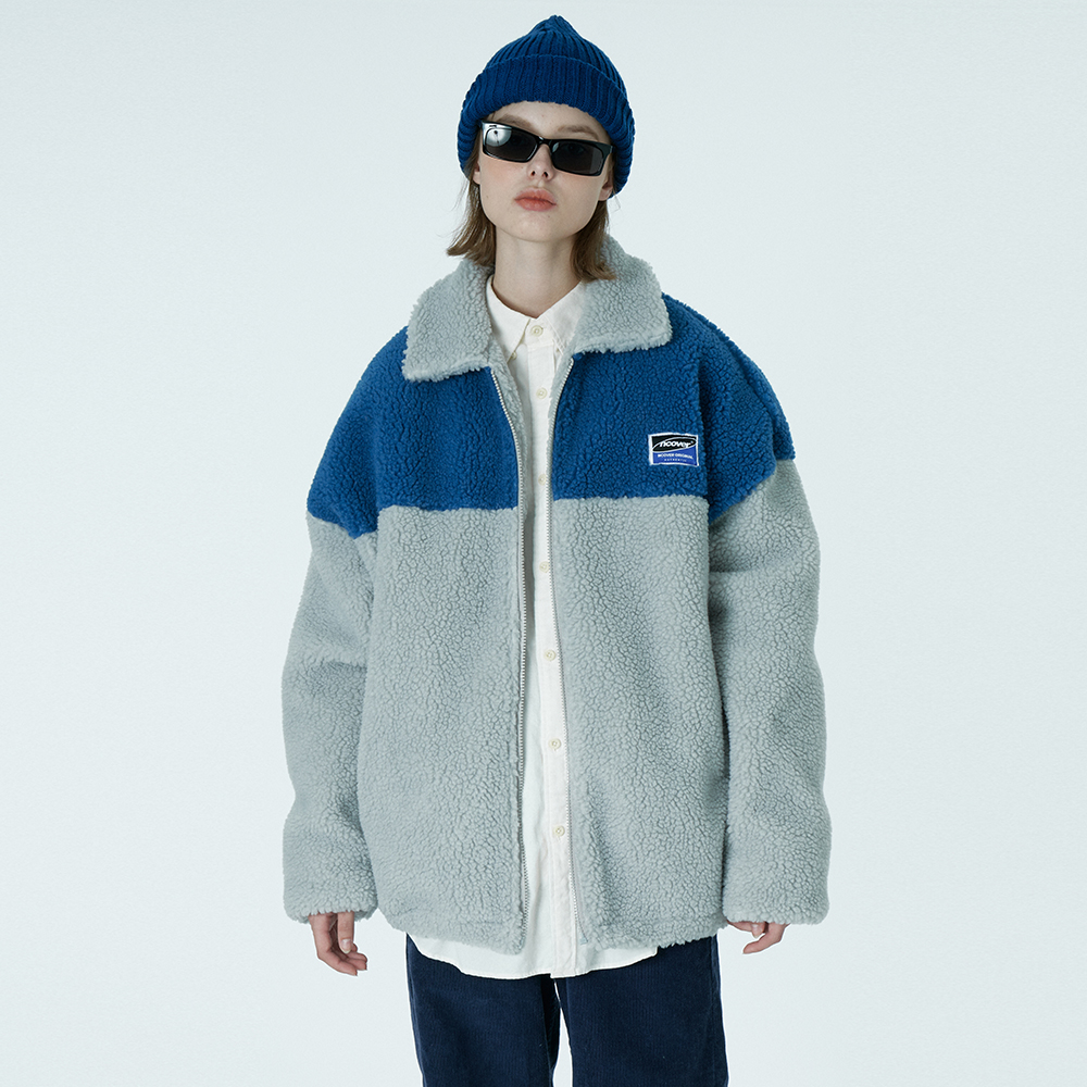 Square patch fleece jacket-grey