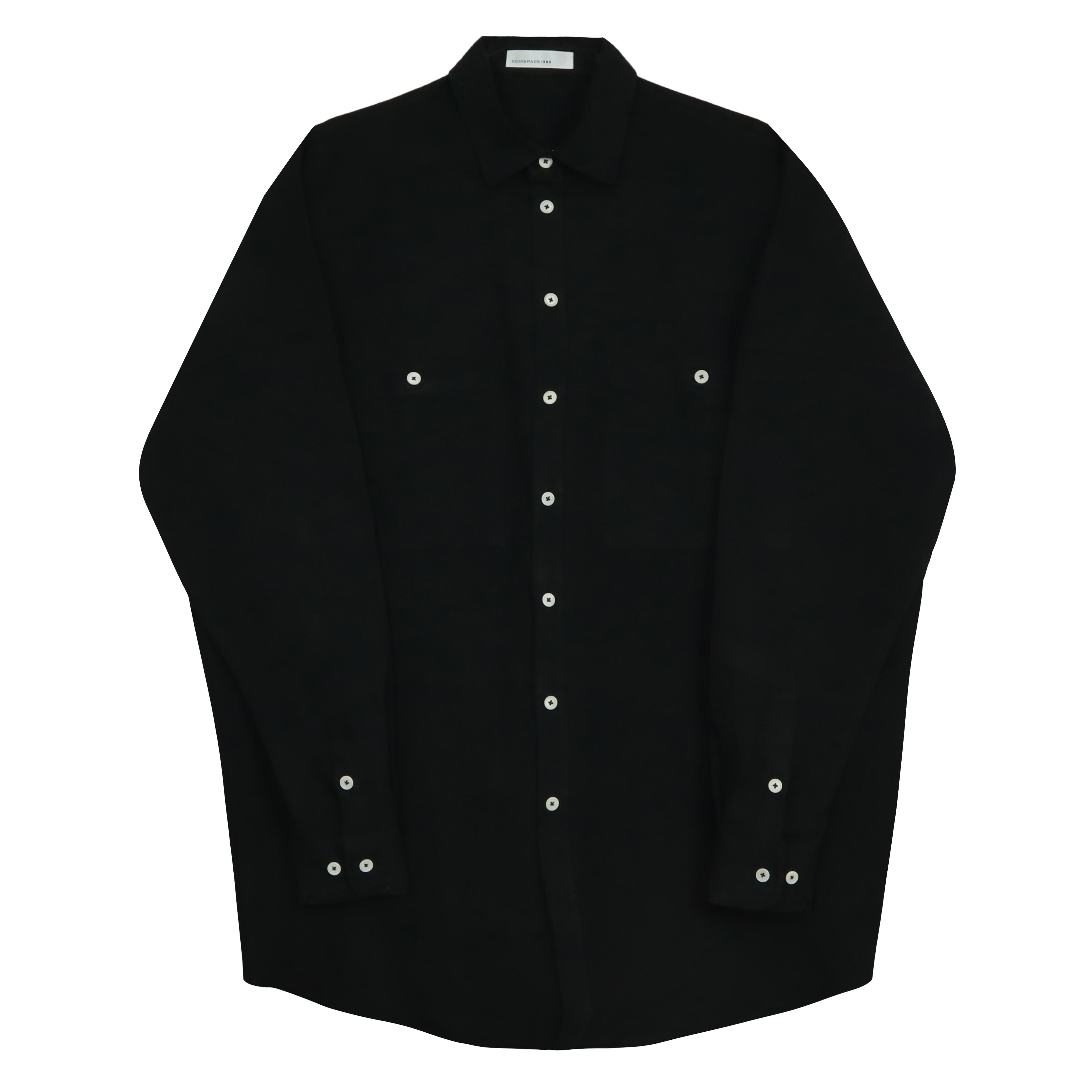 포켓 아웃라인 포인트 셔츠 블랙