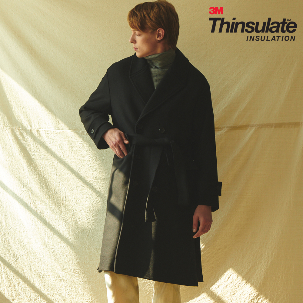 UNISEX OVERFIT 3M THINSULATE ROBE COAT BLACK