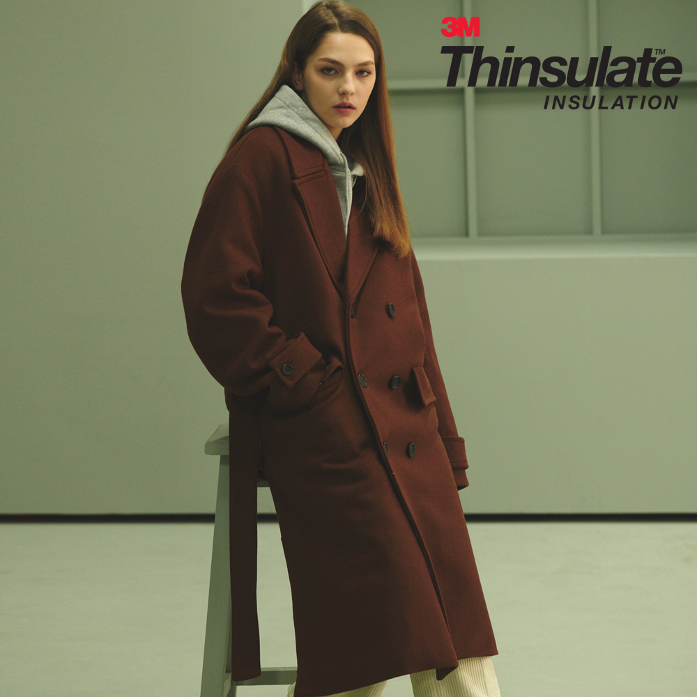 UNISEX OVERFIT 3M THINSULATE ROBE COAT BROWN