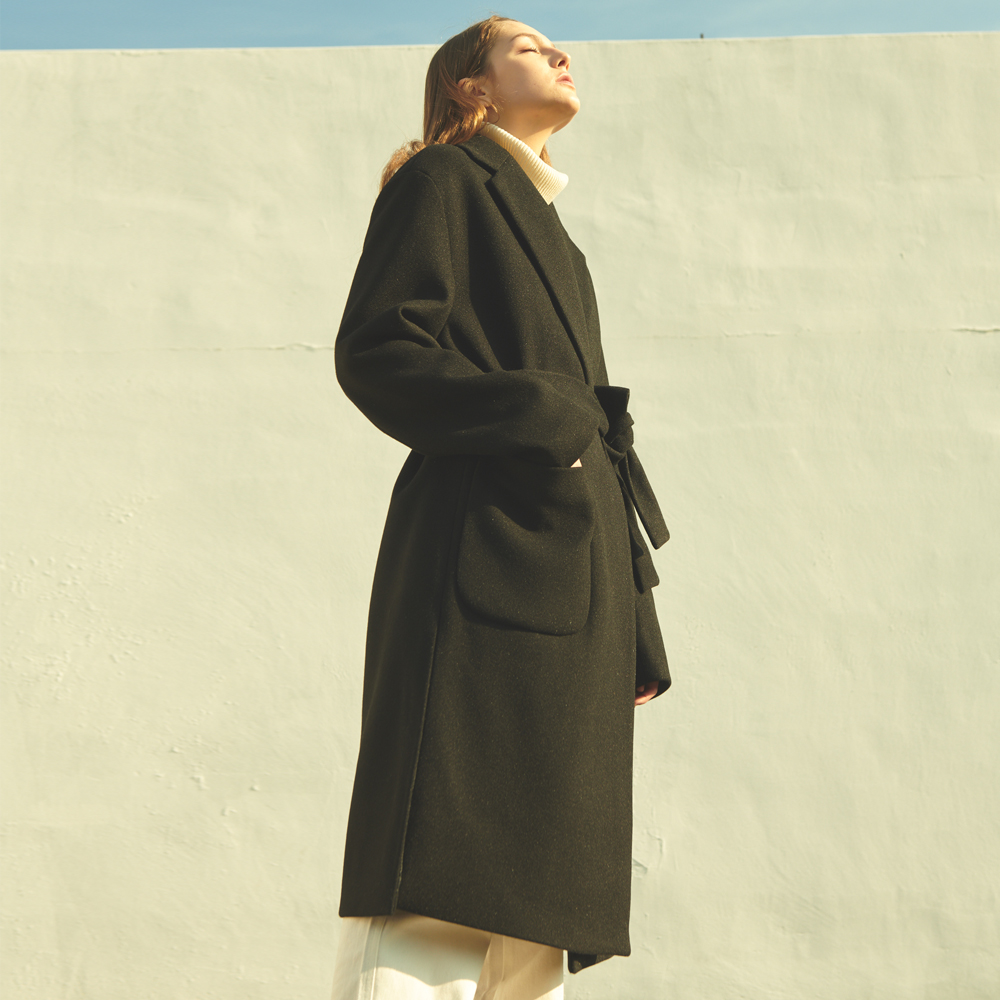 UNISEX OVERFIT SHADOW LOBE COAT BLACK