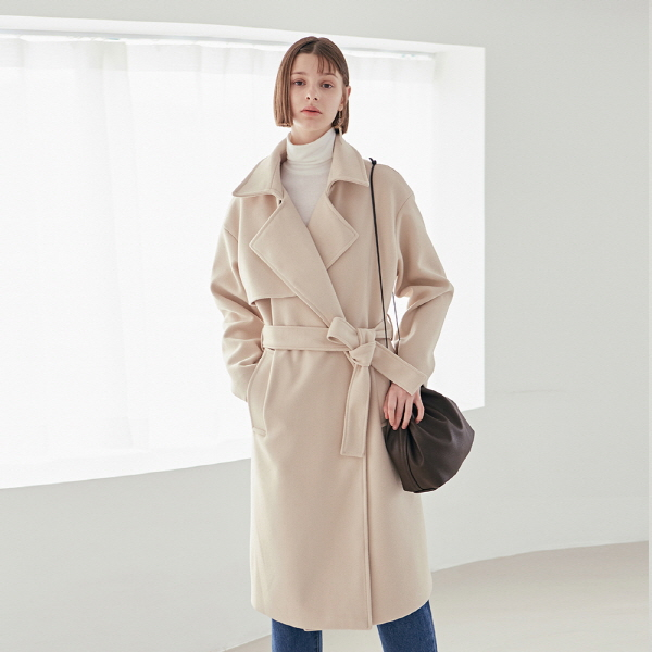 ROBE TRENCH LONG COAT_CREAM