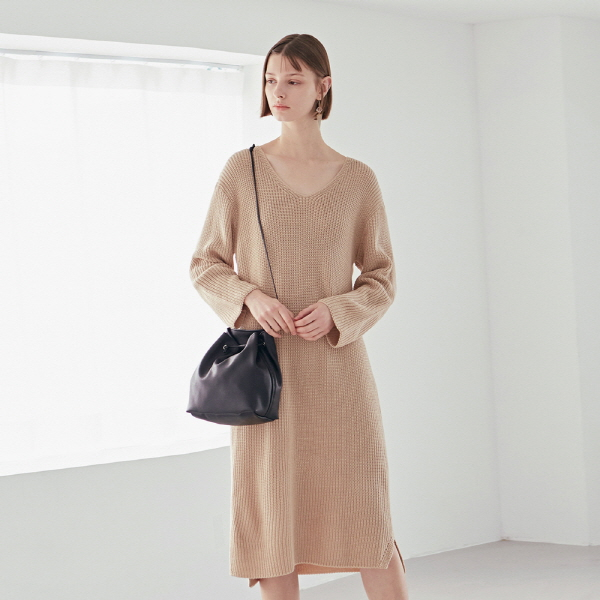 DEEP KNIT LONG OPS_LIGHT BEIGE