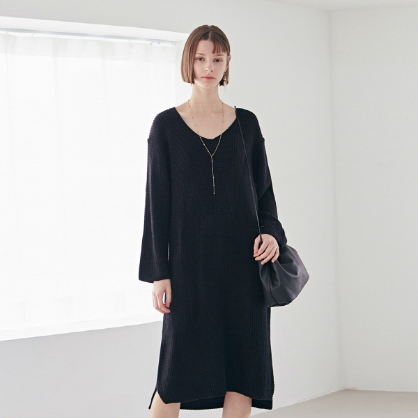 DEEP KNIT LONG OPS_BLACK