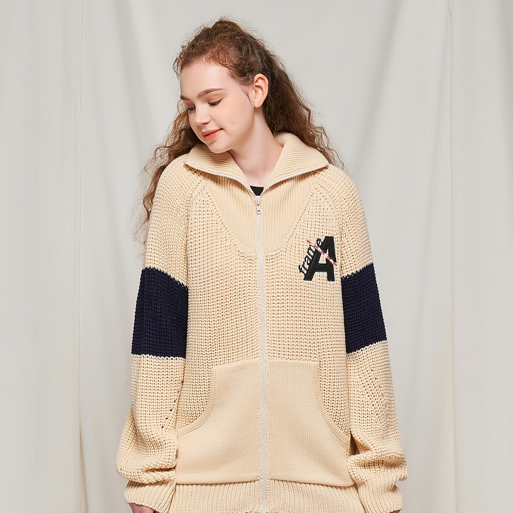 DOTTED LINE HEAVY KNIT ZIP-UP (IVORY)