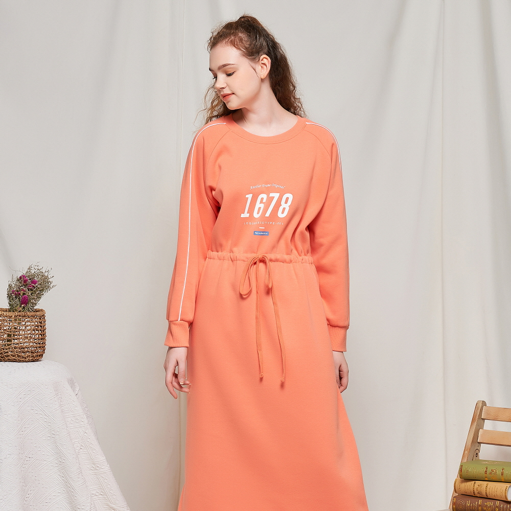 1678 LINE RUGBY SWEAT ONEPIECE (LIVING CORAL)