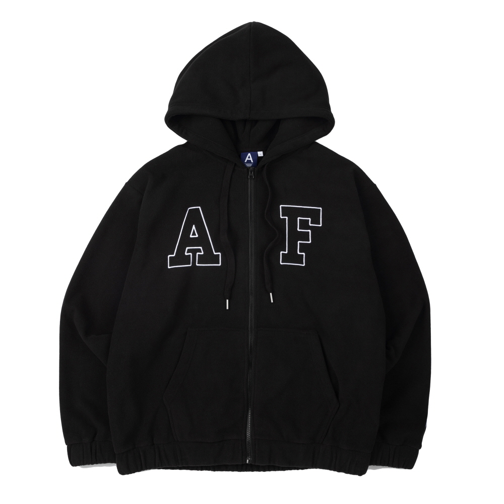 BIG LOGO FLEECE HOOD ZIP-UP (BLACK)