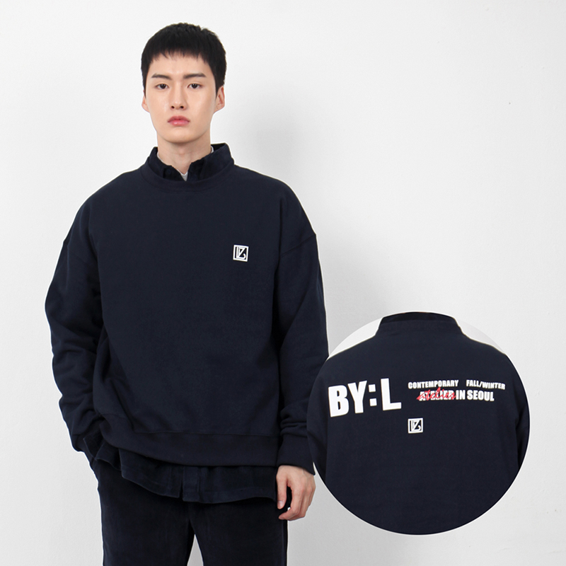 BYL 로고 스웨트셔츠 네이비