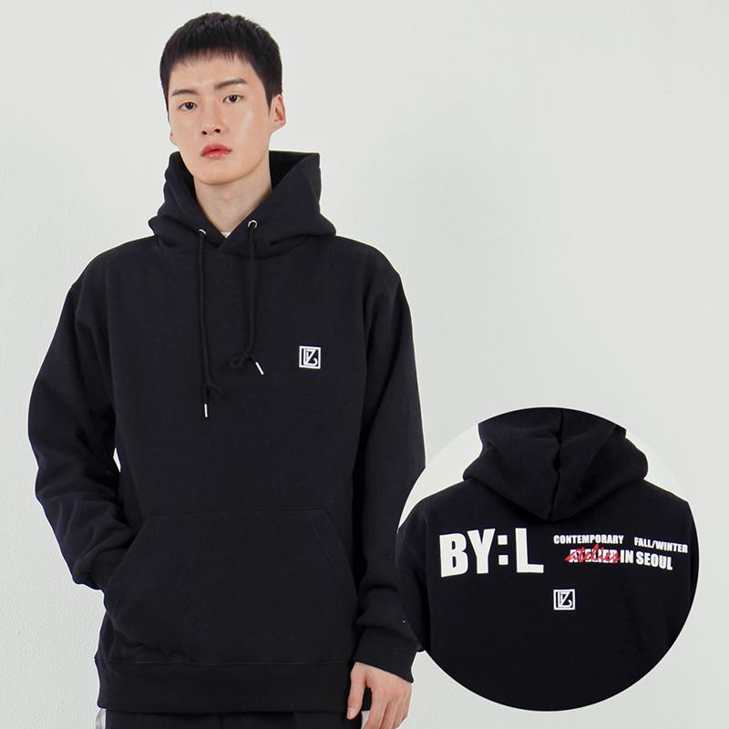 BYL 로고 후드 스웨트셔츠 검정