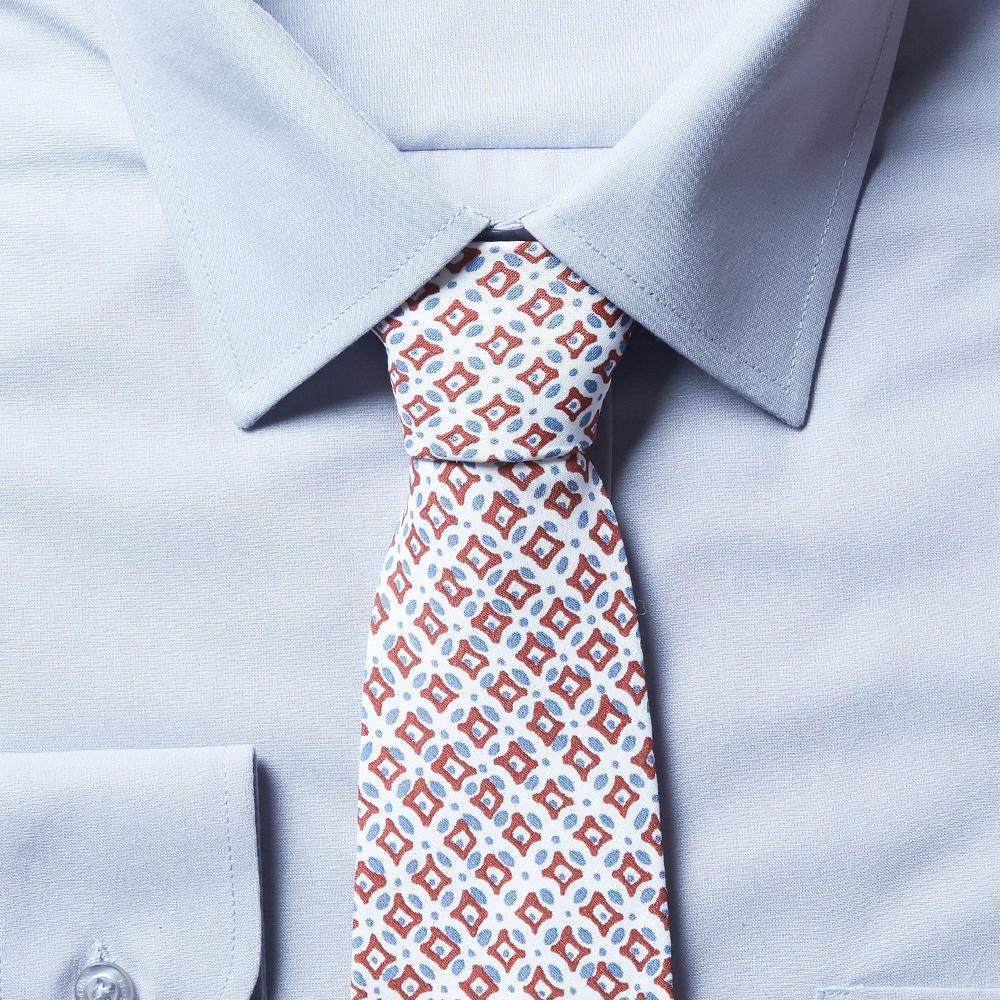 남자 면 넥타이 (화이트 스퀘어)