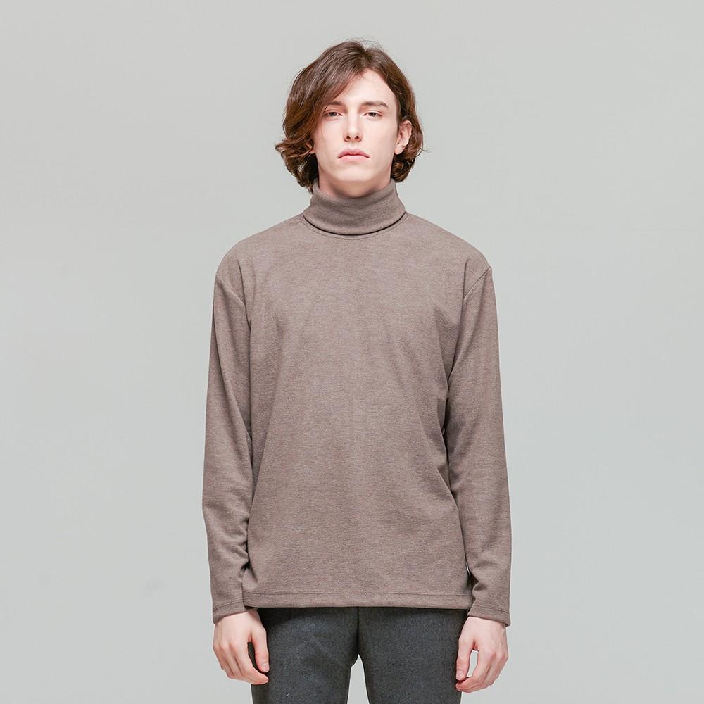 소프트 레이어드 터틀넥 긴팔 티셔츠 브라운