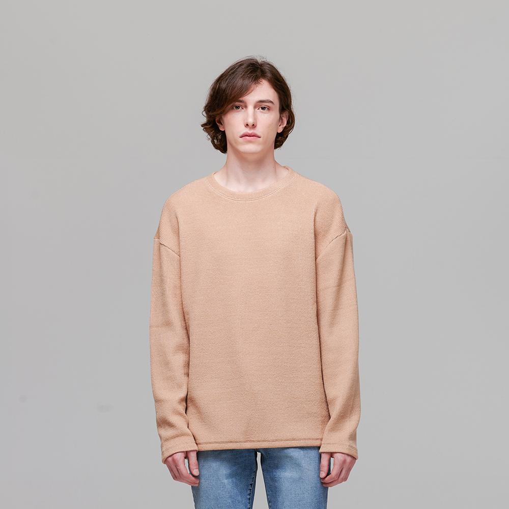 오버핏 니트형 긴팔 티셔츠 베이지