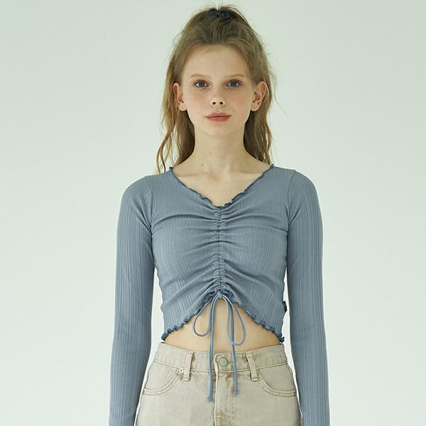 Crop String Sleeve_Slate Blue