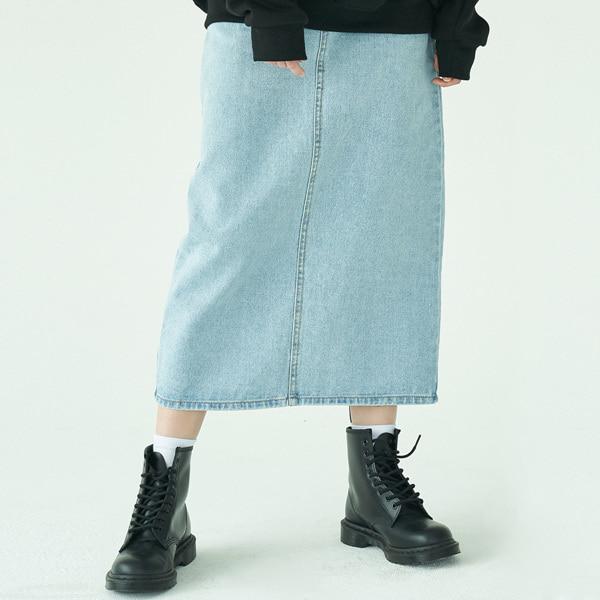 Long Denim Skirt_Light Blue