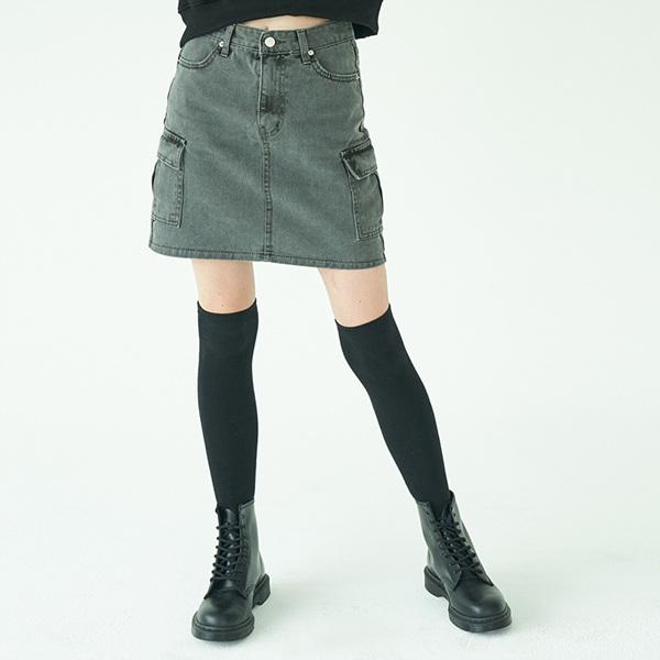 Pigment dyeing Skirt_Grey