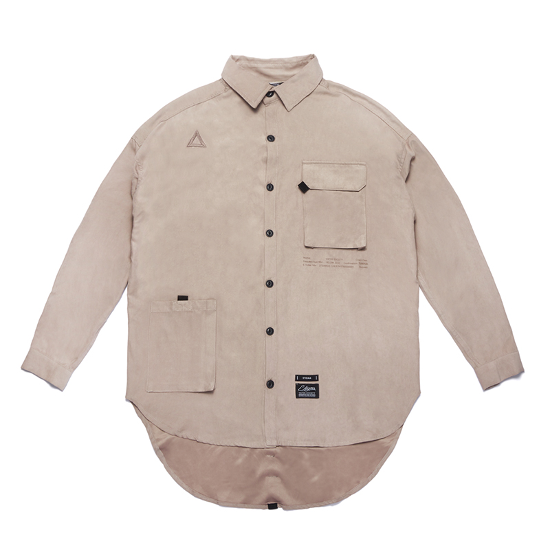 STIGMA WASHED TECH OVERSIZED SHIRTS BEIGE