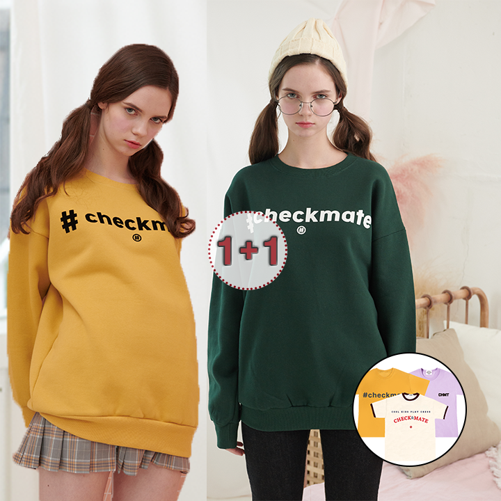 [체크메이트][1+1][벨벳로고] 해시태그 맨투맨