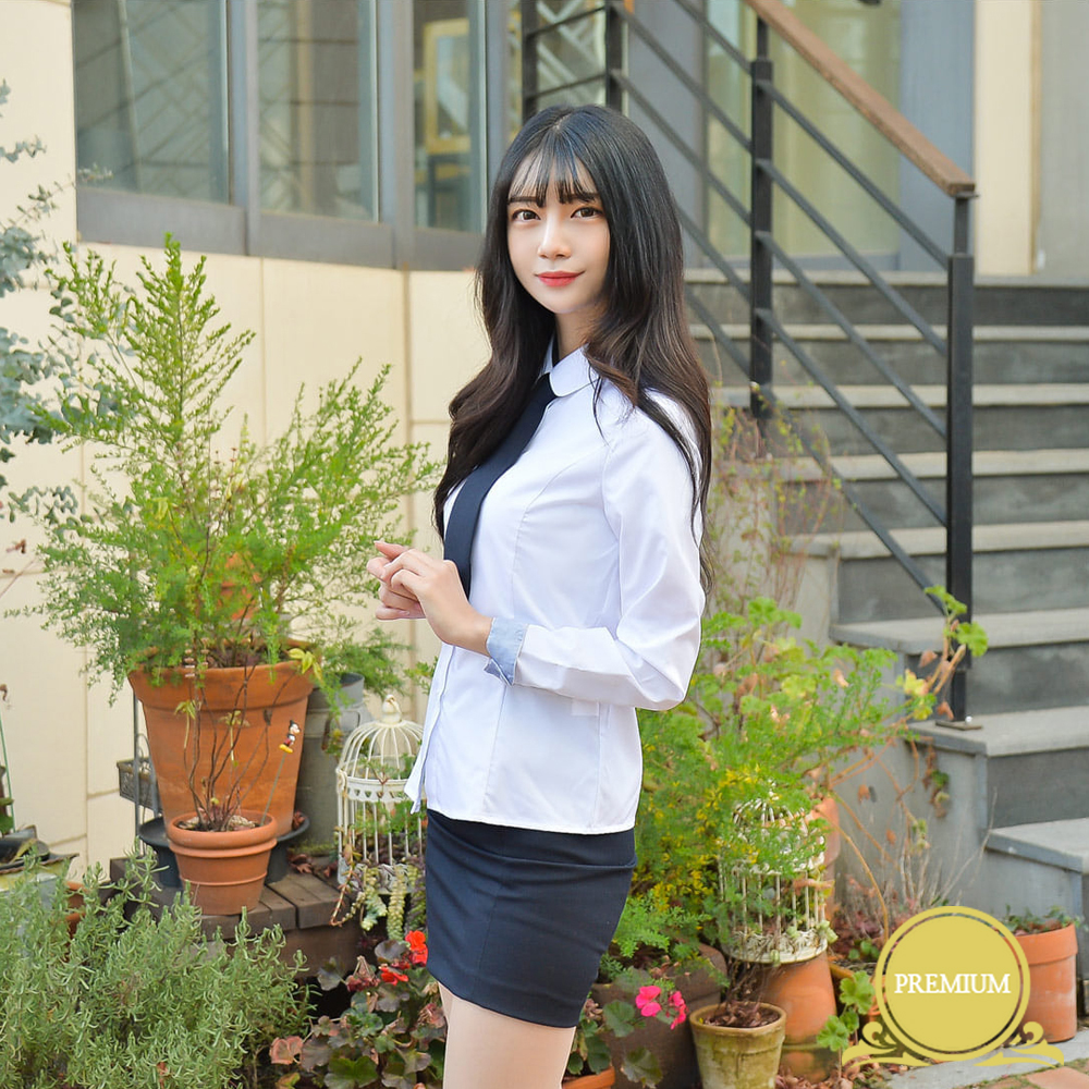 [빅사이즈]프리미엄 여성셔츠 4XL(둥근카라 밝은블루)
