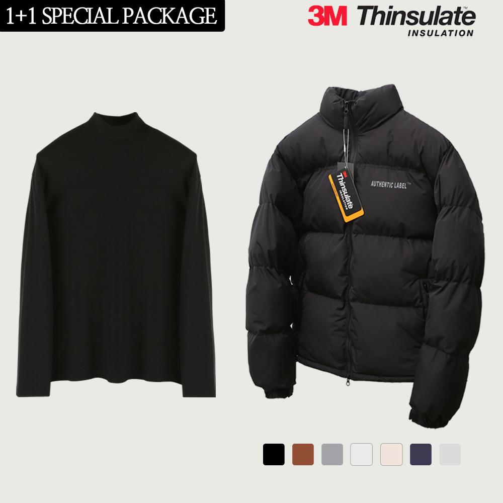 [12월10일 예약배송] [단독구성]신슐 어쎈틱 스카치 숏 패딩(7color) + 하프 폴라 니트 티셔츠 블랙